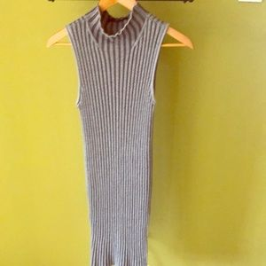 Gray rib knit dress